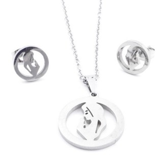 35584-42 SET OF CHAIN, PENDANT AND MATCHING EARRINGS IN STAINLESS STEEL