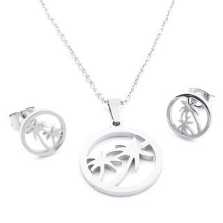 35584-43 SET OF CHAIN, PENDANT AND MATCHING EARRINGS IN STAINLESS STEEL