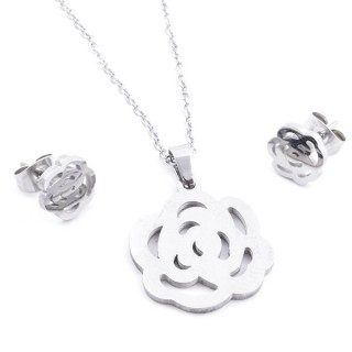 35584-50 SET OF CHAIN, PENDANT AND MATCHING EARRINGS IN STAINLESS STEEL