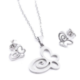 35584-51 SET OF CHAIN, PENDANT AND MATCHING EARRINGS IN STAINLESS STEEL