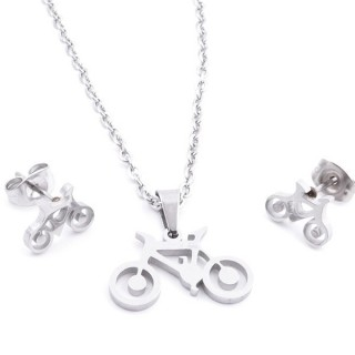 35584-52 SET OF CHAIN, PENDANT AND MATCHING EARRINGS IN STAINLESS STEEL