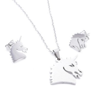 35584-54 SET OF CHAIN, PENDANT AND MATCHING EARRINGS IN STAINLESS STEEL