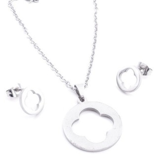 35584-56 SET OF CHAIN, PENDANT AND MATCHING EARRINGS IN STAINLESS STEEL