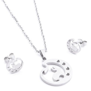35584-57 SET OF CHAIN, PENDANT AND MATCHING EARRINGS IN STAINLESS STEEL