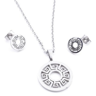 35584-58 SET OF CHAIN, PENDANT AND MATCHING EARRINGS IN STAINLESS STEEL