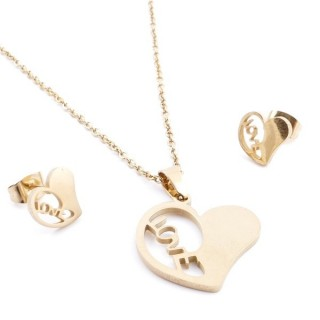 35585-44 SET OF CHAIN, PENDANT AND MATCHING EARRINGS IN GOLD COLOURED STAINLESS STEEL