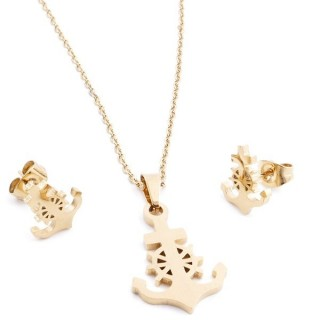 35585-47 SET OF CHAIN, PENDANT AND MATCHING EARRINGS IN GOLD COLOURED STAINLESS STEEL