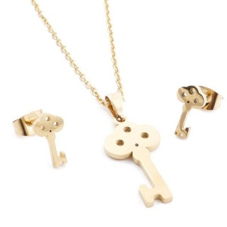 35585-52 SET OF CHAIN, PENDANT AND MATCHING EARRINGS IN GOLD COLOURED STAINLESS STEEL
