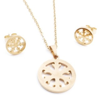 35585-55 SET OF CHAIN, PENDANT AND MATCHING EARRINGS IN GOLD COLOURED STAINLESS STEEL
