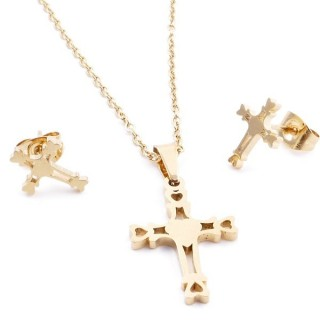 35585-58 SET OF CHAIN, PENDANT AND MATCHING EARRINGS IN GOLD COLOURED STAINLESS STEEL