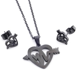 37889-01 SET OF CHAIN, PENDANT AND MATCHING EARRINGS IN BLACK COLOURED STAINLESS STEEL