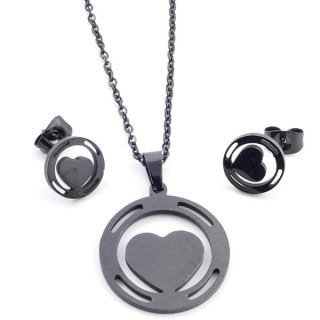37889-02 SET OF CHAIN, PENDANT AND MATCHING EARRINGS IN BLACK COLOURED STAINLESS STEEL