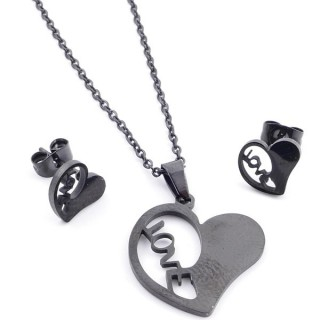37889-03 SET OF CHAIN, PENDANT AND MATCHING EARRINGS IN BLACK COLOURED STAINLESS STEEL