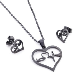 37889-04 SET OF CHAIN, PENDANT AND MATCHING EARRINGS IN BLACK COLOURED STAINLESS STEEL