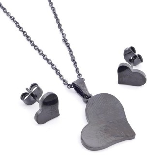 37889-07 SET OF CHAIN, PENDANT AND MATCHING EARRINGS IN BLACK COLOURED STAINLESS STEEL