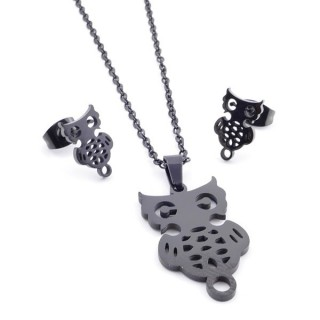 37889-10 SET OF CHAIN, PENDANT AND MATCHING EARRINGS IN BLACK COLOURED STAINLESS STEEL