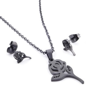 37889-11 SET OF CHAIN, PENDANT AND MATCHING EARRINGS IN BLACK COLOURED STAINLESS STEEL