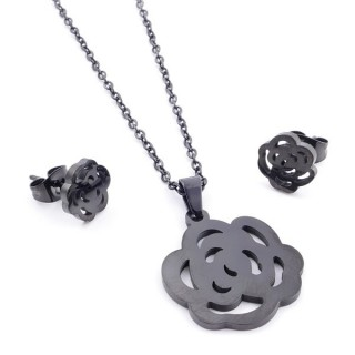 37889-12 SET OF CHAIN, PENDANT AND MATCHING EARRINGS IN BLACK COLOURED STAINLESS STEEL
