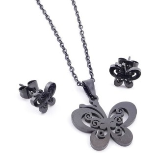 37889-13 SET OF CHAIN, PENDANT AND MATCHING EARRINGS IN BLACK COLOURED STAINLESS STEEL