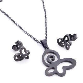 37889-14 SET OF CHAIN, PENDANT AND MATCHING EARRINGS IN BLACK COLOURED STAINLESS STEEL