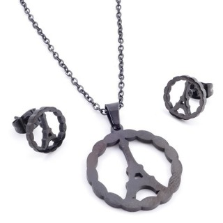 37889-16 SET OF CHAIN, PENDANT AND MATCHING EARRINGS IN BLACK COLOURED STAINLESS STEEL
