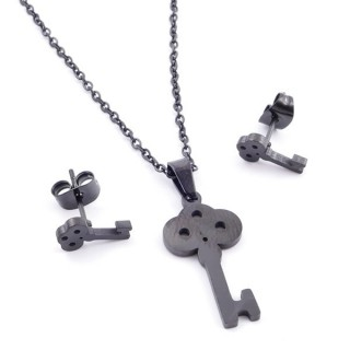 37889-17 SET OF CHAIN, PENDANT AND MATCHING EARRINGS IN BLACK COLOURED STAINLESS STEEL