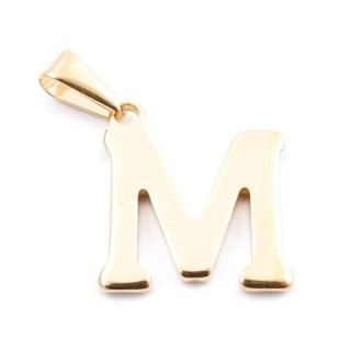 37923-13 GOLDEN STAINLESS STEEL LETTER SHAPED PENDANT APPROXIMATELY 20 MM