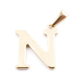 37923-14 GOLDEN STAINLESS STEEL LETTER SHAPED PENDANT APPROXIMATELY 20 MM