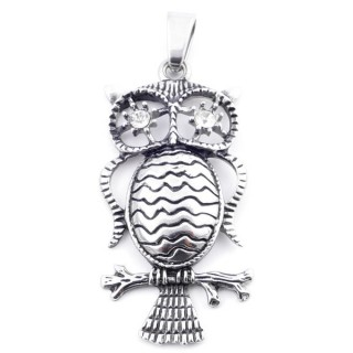 37802 STAINLESS STEEL OWL SHAPED 55 X 27 MM PENDANT