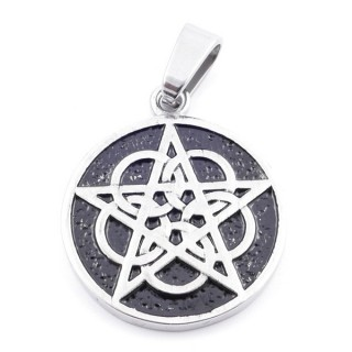 37798 ROUND 30 MM STAINLESS STEEL PENDANT WITH PENTAGRAM SYMBOL