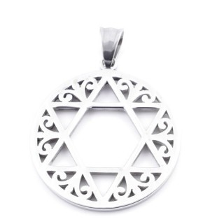 37797 STAINLESS STEEL STAR OF DAVID ROUND 35 MM PENDANT