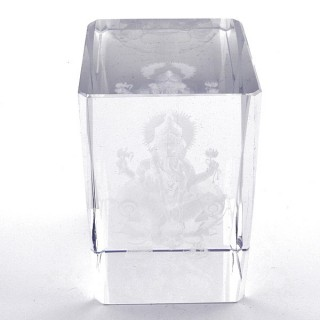 37562-05 CRYSTAL 8 X 5 X 5 CM FIGURE WITH LASER CARVED SYMBOL OF GANESH
