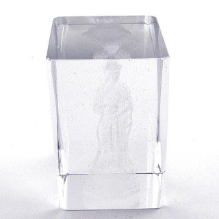 37562-06 CRYSTAL 8 X 5 X 5 CM FIGURE WITH LASER CARVED SYMBOL OF QUAN YIN