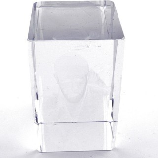 37562-08 CRYSTAL 8 X 5 X 5 CM FIGURE WITH LASER CARVED SYMBOL OF SAI BABA