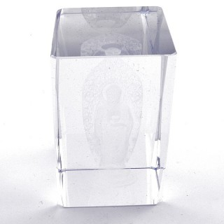37562-09 CRYSTAL 8 X 5 X 5 CM FIGURE WITH LASER CARVED SYMBOL OF BUDDHA