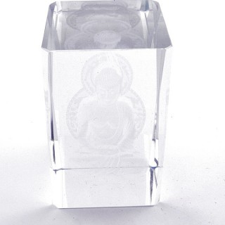 37562-10 CRYSTAL 8 X 5 X 5 CM FIGURE WITH LASER CARVED SYMBOL OF BUDDHA