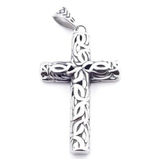 37833 CROSS SHAPED STAINLESS STEEL 58 X 35 MM PENDANT