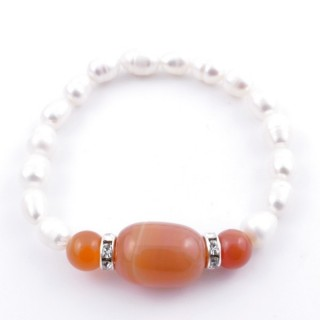 37467-02 ELASTIC FRESHWATER PEARL BRACELET WITH AGATE STONE