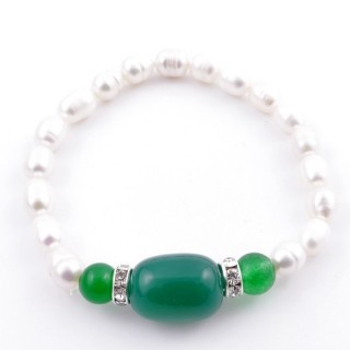 37467-03 ELASTIC FRESHWATER PEARL BRACELET WITH AGATE STONE