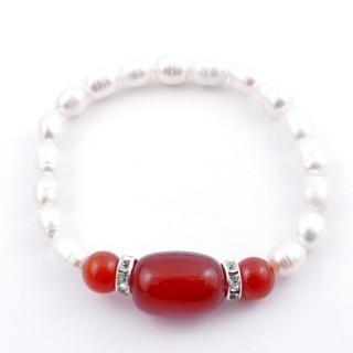 37467-04 ELASTIC FRESHWATER PEARL BRACELET WITH AGATE STONE