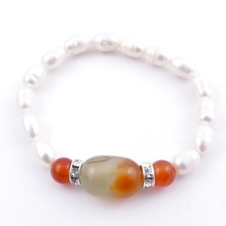 37467-05 ELASTIC FRESHWATER PEARL BRACELET WITH AGATE STONE