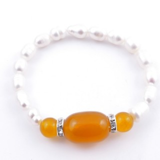 37467-06 ELASTIC FRESHWATER PEARL BRACELET WITH AGATE STONE