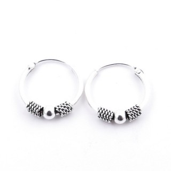 55209 STERLING SILVER BALI DESIGN 14 MM HOOP EARRINGS