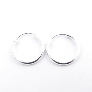 52033 PLAIN STERLING SILVER 2 X 18 MM HOOP EARRINGS