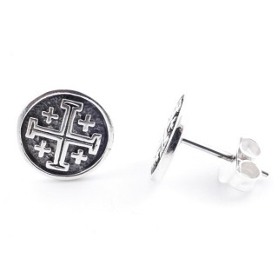 50136 STERLING SILVER 11 MM JERUSALEM CROSS POST EARRINGS
