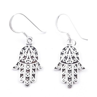 55236 STERLING SILVER FISH HOOK EARRINGS WITH 19 X 10 MM HAMSA CHARM