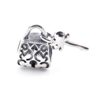 51079 STERLING SILVER LOCK AND KEY BRACELET CHARM  11 X 8 MM