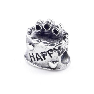 51076 STERLING SILVER CAKE SHAPED BRACELET CHARM 11 X 11 MM
