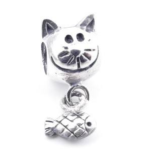 51074 STERLING SILVER CAT & FISH SHAPED BRACELET CHARM 12 X 8 MM