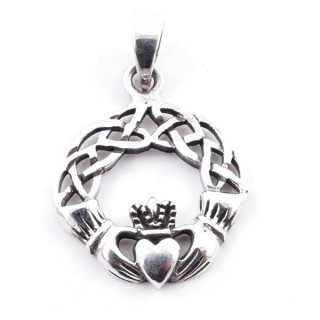 50095 STERLING SILVER PENDANT IN HEART IN HANDS SHAPE 26 X 22 MM